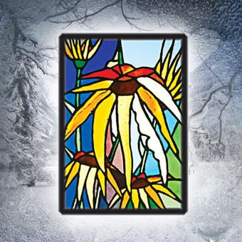 Vitražo miniatiūra. Kabinama ant lango Gėlės II