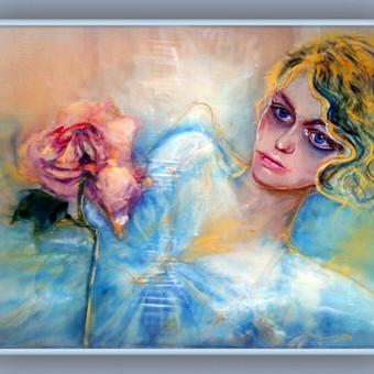 """Silko paveikslas"""" Mergaite su Roze"""" piestas pagal zymios rusu manekenes portreta"""