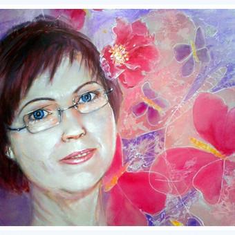 """Portretas """"Mamai"""" piestas ant silko is nuotraukos 50 metu jubiliejaus proga 90x80 cm - PARDUOTA"""