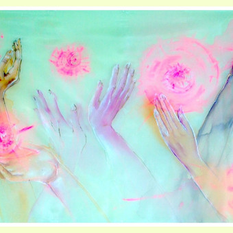 """Silko paveikslas """"Laime"""" - laimes pirmiausia reikia ieskoti savyje, o suradus savyje, galima dalintis ja su visais."""