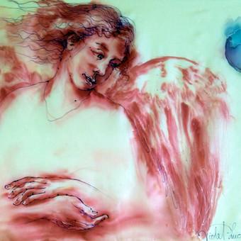 """Silko paveikslas """"Angelas"""" buvo paaukotas aukcionui vaiku projektui """"Vilties Angelai"""" Cikagoje."""