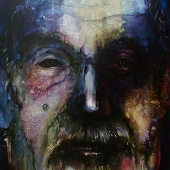 """Kūrybinis darbas. """"Prosenelio portretas"""".Drobė, aliejus. 165x120cm. 2018m."""