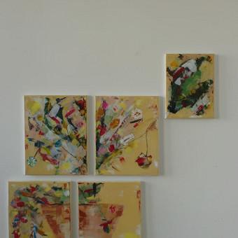 Mokinės nutapyta 5dalių tapybinė kompozicija. Drobė, akrilas. 2018m.
