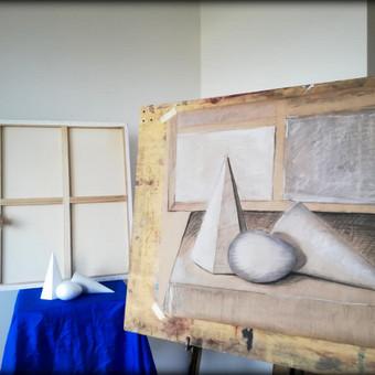Figūrinė studija. Tonuotas popierius, anglis, kreida.