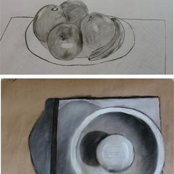 Vaiko (12m.) grafiški piešiniai iš natūros. Įv., popierius, pieštukai, anglis, kreida.