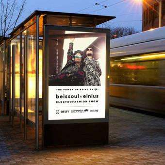 """Muzikos grupės koncerto """"Beissoul&Einius"""" reklamos plakatas"""