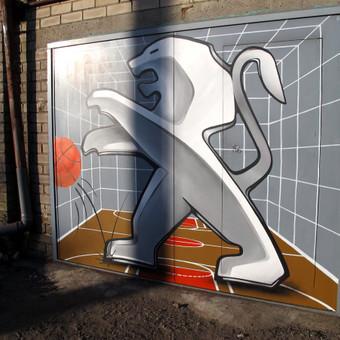 Piešinys ant metalinių garažo durų, dalinis 3D efektas, Klaipėda