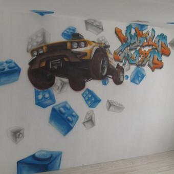 Dalinis 3D efektas, kompozicija suderinta su būsimais baldais, piešinys ant dažomo tapeto