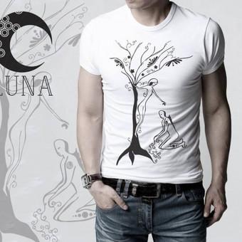 """Marškinėliai su autorine iliustracija pavadinimu """" Užauginta"""" spaudos tipas- termo spauda"""