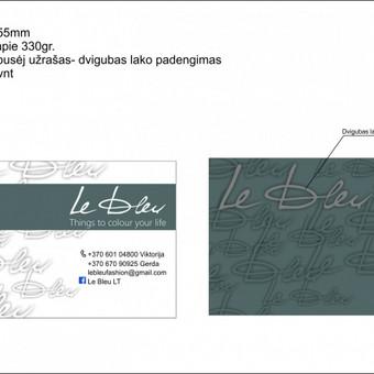 Išskirtinės vizitinės kortelės ant storo, reljefinio popieriaus, šilkografijos spauda, dalinis lakavimas, įspaudai.