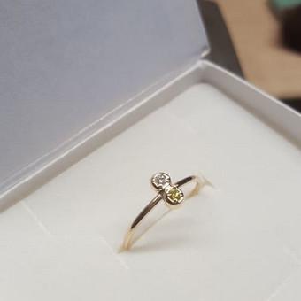 Geltonas ir baltas deimantas geltoname aukse - 170€