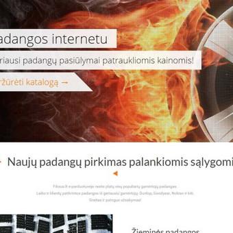 E-shop'o landing page skirtas padangų kategorijai.