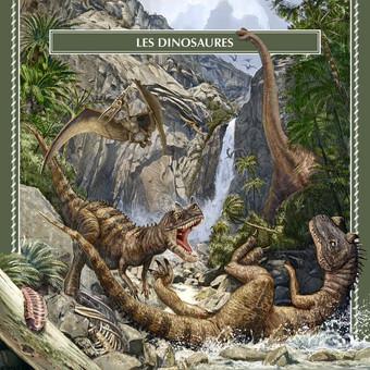 Dinozaurai. Iliustracija. Pterodactylus, Brachiosaurus altithorax, Ceratosaurus.