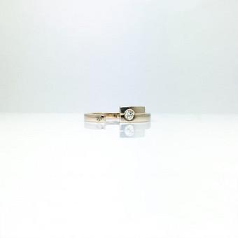 Sužadėtuvių žiedas iš baltojo aukso, 0.11ct ir 0.016ct briliantai