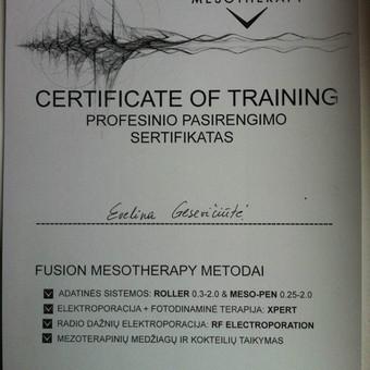 """Kvalifikacijos kėlimo seminaras """"AESTHETA"""" profesinio pasirengimo sertifikatas """"Fusion Mesotherapy metodai: adatinės sistemos: roller, meso-pen, elektroporacija fotodinaminė terapija, radio  ..."""