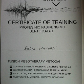 """Kvalifikacijos kėlimo seminaras """"AESTHETA"""" profesinio pasirengimo sertifikatas """"Fusion Mesotherapy metodai: adatinės sistemos: roller, meso-pen, elektroporacija fotodinaminė terapija, radio dažnių elektroporacija, mezoterapinių medžiagų ir kokteilių taikymas"""""""