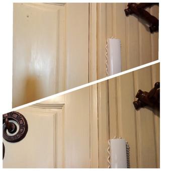 Kartais nuo drėgmės ar kitų faktorių, sumažėja durų tarpelis tarp durų ir staktos