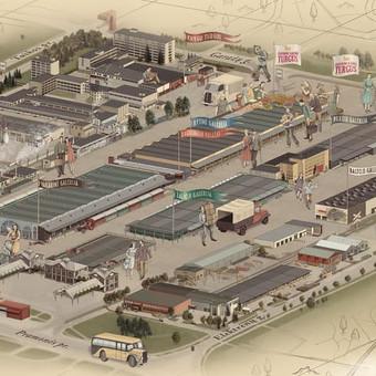 """Iliustruotas žemėlapis """"Prekybos miestelis URMAS"""""""