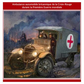 Iliusracija Raudonojo kryžiaus draugijai. Pirmasis pasaulinis karas. Ligoninės automobilis.