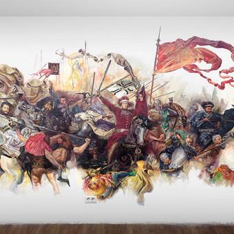 """Jano mateikos """"Žalgirio mūšis"""". Moderni interpretacija. Piešinys ant sienos."""
