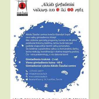 """""""Aikido gimtadieniai vaikams nuo 3 iki 14 metų"""" plakatas © Tatjana Iljina"""