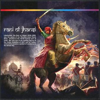 Lakšmi Bai (Rani of Jhansi) Indijos nacionalinė didvyrė. Viena iš Sipajų sukilimo liderių.