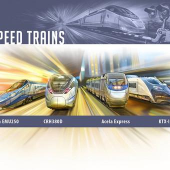Greitieji traukiniai: Alstom EMU250, CRH380D, Acela Express, KTX-III.