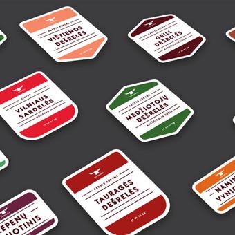 """Mėsos perdirbimo įmonės """"Kanrugėlė"""" produkcijos etiketės"""