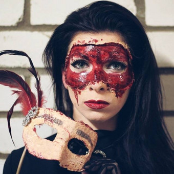 Masquerade Mask Make up - grimas- kraujas, spec. efektai