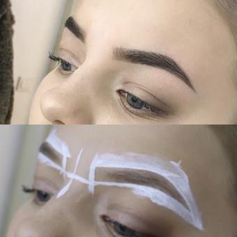 antakių korekcija - formos parinkimas pagal veido bruožus, dažymas naujos kartos ELAN dažais, plaukelių šalinimas vašku ir pincetu.