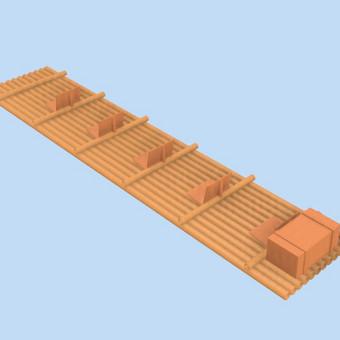 Bambukų plausto eskizas
