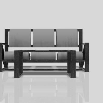Laukiamojo suolas ir staliukas