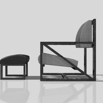 Kėdė su pufu kojoms