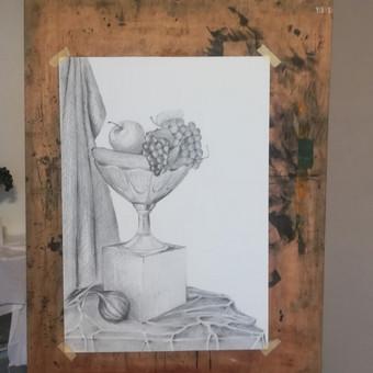 Natiurmorto studija (pavyzdys mokiniams). Popierius, pieštukas. 2018m.