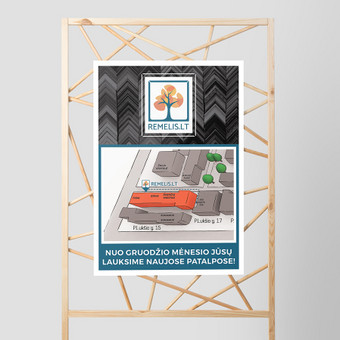 """Informacinis plakatas apie pasikeitusią rėminimo centro """"Rėmelis.lt"""" lokaciją."""