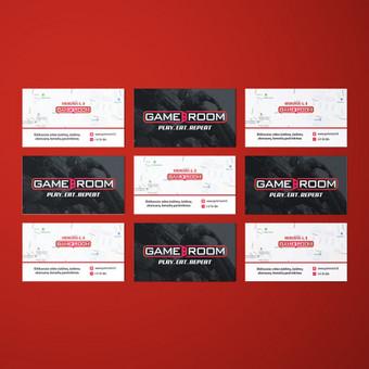 Vizitinės kortelės maketas žaidimų aksesuarų ir priedų parduotuvei – Gameroom.lt