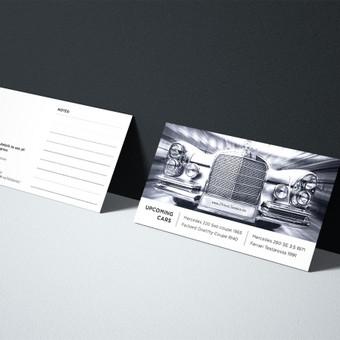 Vizitinė kortelė senovinių automobilių pardavimu užsiimančiai įmonei