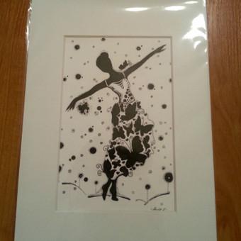 A5 formato paveiksliukas su porėmiu ''Drugelių mergaitė''