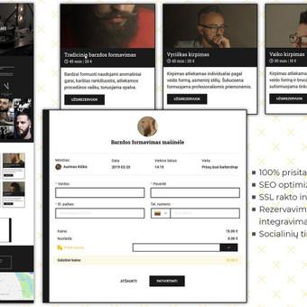 """""""Prūsų ūsai"""" - tai privačios vyrų kirpyklos puslapis, su aiškiai pateiktomis paslaugomis ir kainomis bei patogia registracijos sistema."""
