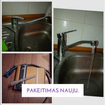 Seno virtuvinio čiaupo pakeitimas nauju.