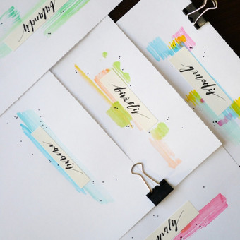 Moderni kaligrafija, kalendoriaus fragmentai, mėnesių pavadinimai. PARDUODAMA /plunksna, tušas, akvarelė/