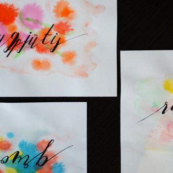 Mėnesių pavadinimai, fragmentai. Moderni kaligrafija /plunksna, tušas, akvarelė/