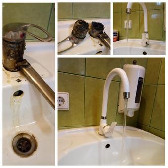 Seno vandens čiaupo pakeitimas nauju. Klientas laiku spėjo pakeisti, kol neužtvindė ofiso.