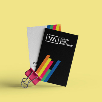 """Prezentacijų kūrimo akademijos """"Visual Talk academy"""" vizitnės kortelės"""