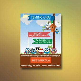 Animuota reklamjuostė interneto svetainės Isminciukai.lt reklamai.