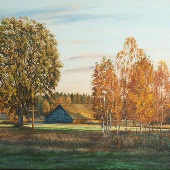 """Aliejiniai dažai ant drobės """"Grybiškės"""" 50x80cm. Grybiškių kaimas. Poškonių seniūnija. Šalčininkų rajonas. Edgaras Guršnys."""