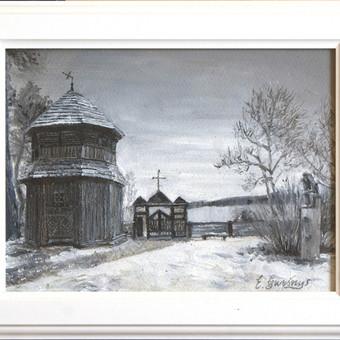 """Tapyba aliejiniais dažais """"Palūšės Šv. Juozapo bažnyčia"""" 21x29cm. Edgaras Guršnys."""