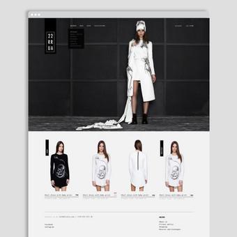 Eshopo dizainas rūbų kūrėjui ir gamintojui. Reikalavimai - vadovautis ir išlaikyti esamą brando stilių, minimalizmas ir įmantrumas. / 2ru2ra.com