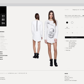 Eshopo dizainas rūbų gamintojui - produkto puslapis. / 2ru2ra.com