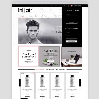El.parduotuvės dizainas įmonėi pardavinėjančiam plaukų priežiūros priemones. / inhair.lt